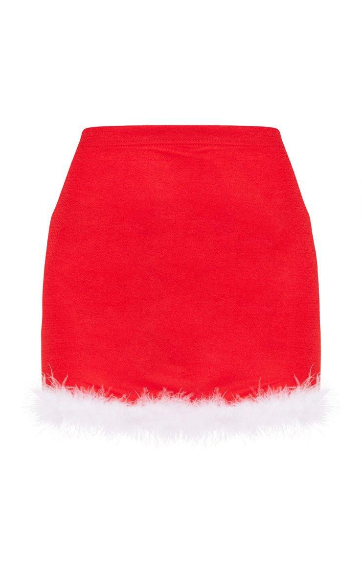 Red Fluffy Edge Mini Skirt | PrettyLittleThing