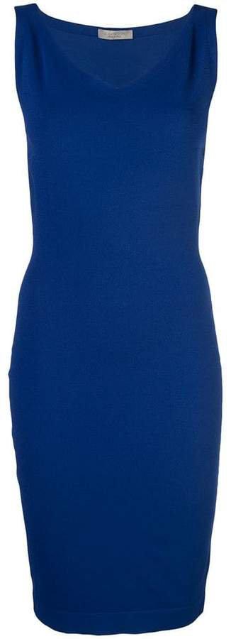 D.Exterior V-neck pencil dress