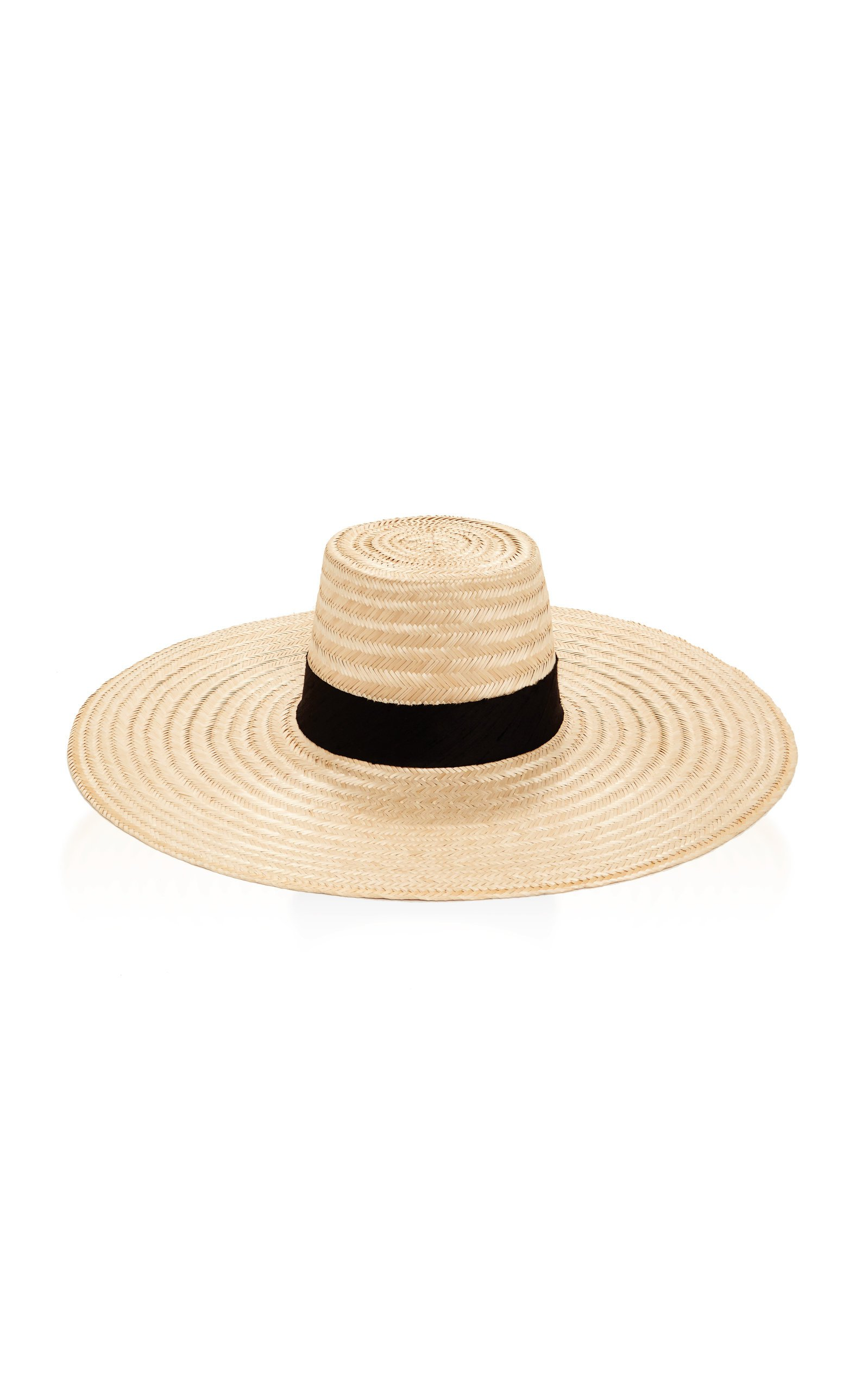 Janessa Leone Romy Silk-Trimmed Straw Hat