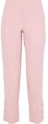 Cropped Button-detailed Wool-blend Crepe Straight-leg Pants