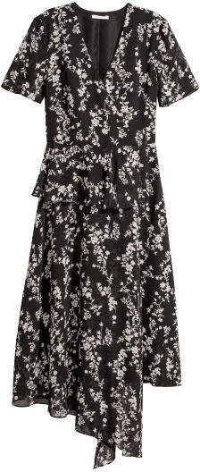 Chiffon Dress with Flounce - Black