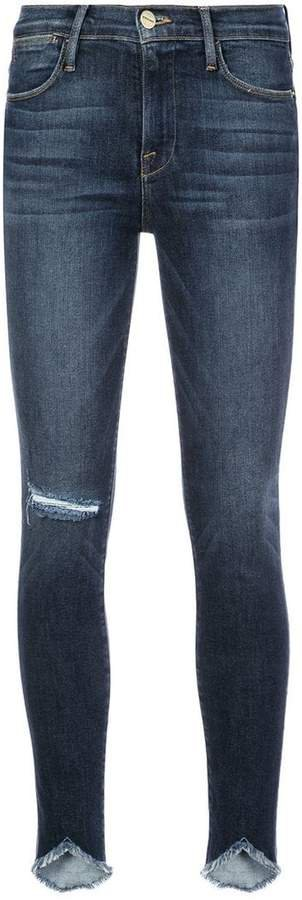 distressed effect skinny jeans