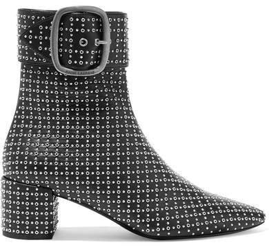 Joplin Studded Leather Ankle Boots - Black