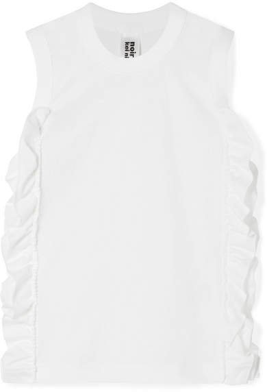 Ruffled Cotton-jersey Tank - White