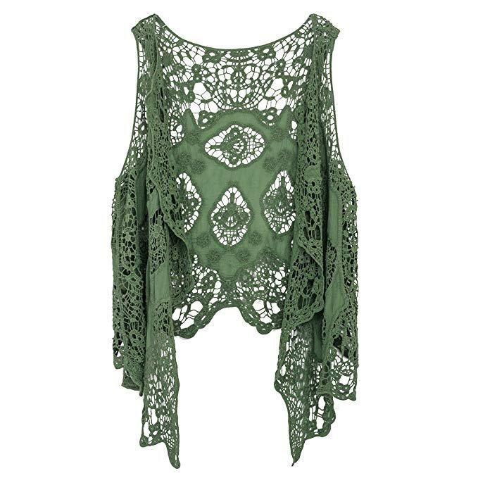 Jastie Open Stitch Cardigan Boho Hippie Butterfly Crochet Vest (ArmyGreen) at Amazon Women's Coats Shop