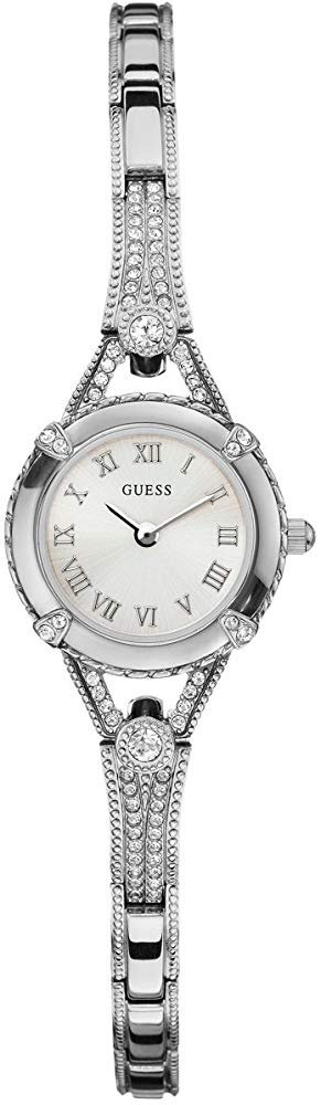 Silver-Tone Crystal Bracelet Watch