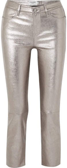 Cropped Metallic Stretch-leather High-rise Straight-leg Pants
