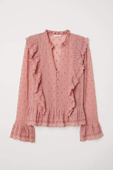 V-neck Buttoned Blouse - Pink