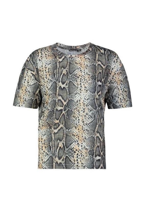 Petite Tonal Snake Print T-Shirt | Boohoo