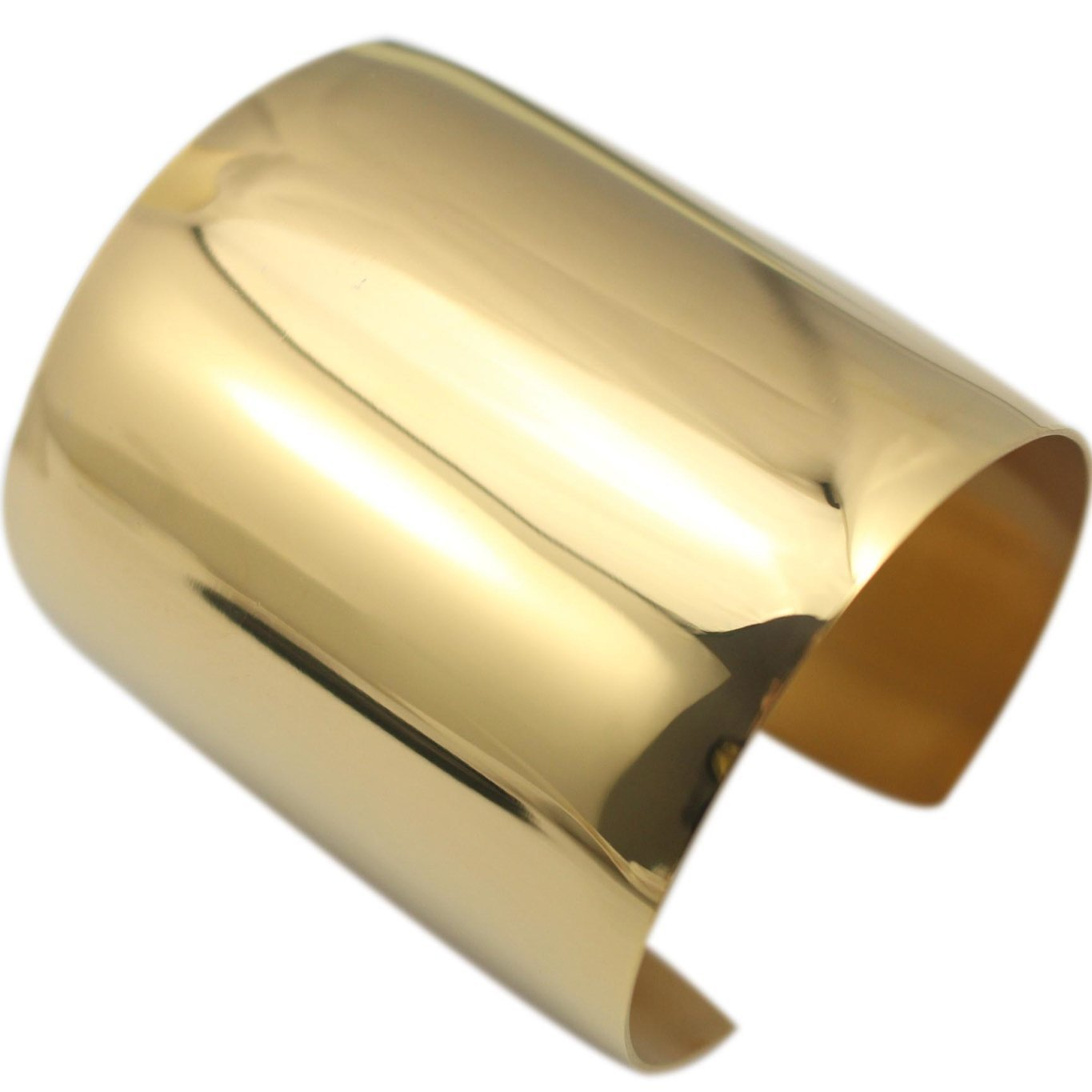Carfeny High Polished Stainless Steel Smooth Wide Cuff Bangle Bracelet for Women, Gold, Rose Gold and Silver Available