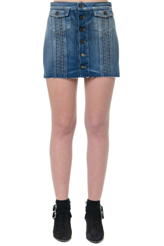 Saint Laurent Blue Denim Stars Mini Skirt