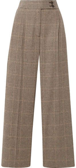Charlotte Prince Of Wales Checked Wool-blend Straight-leg Pants - Brown