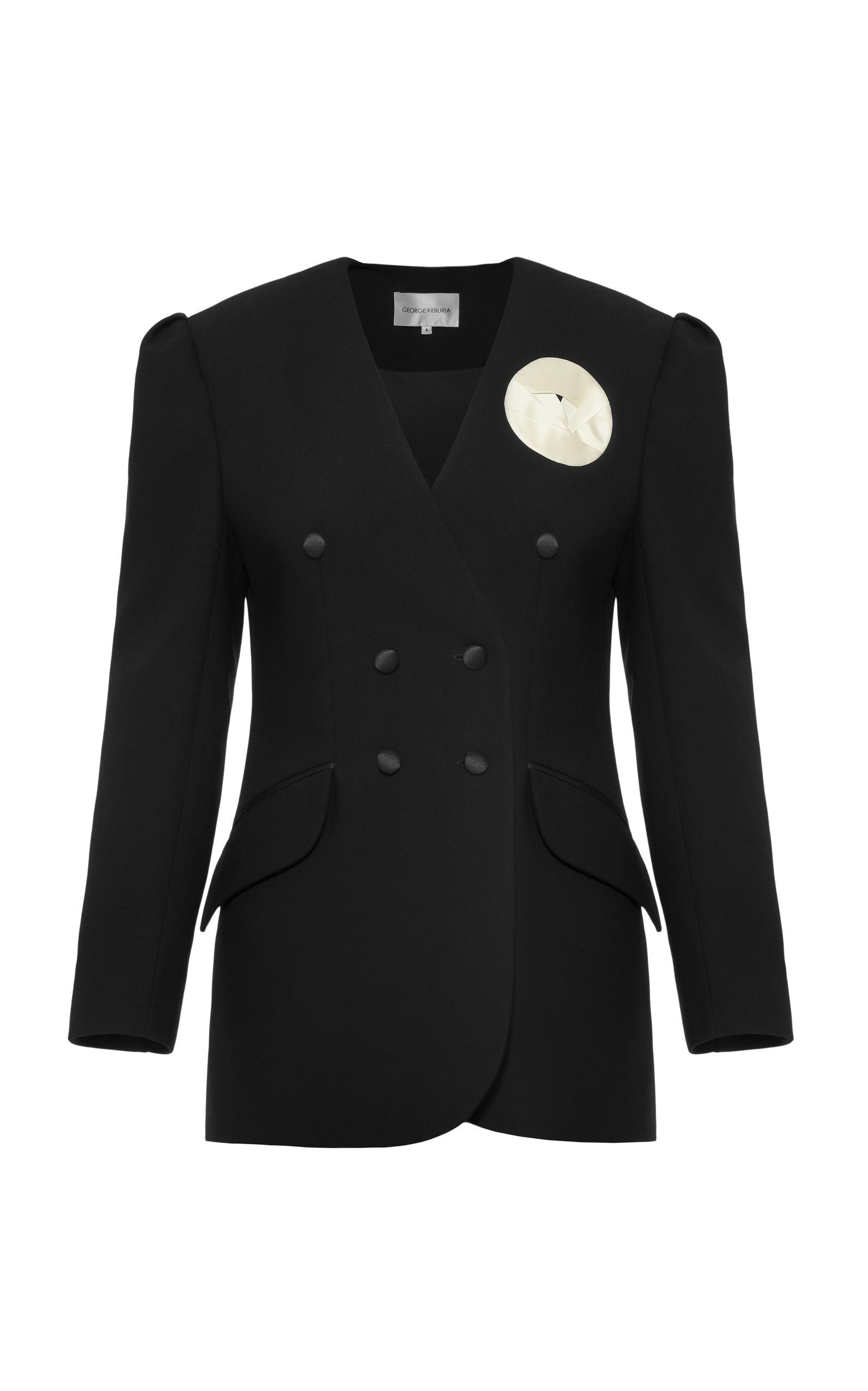 George Keburia Detailed Double-Breasted Cady Blazer Size: S