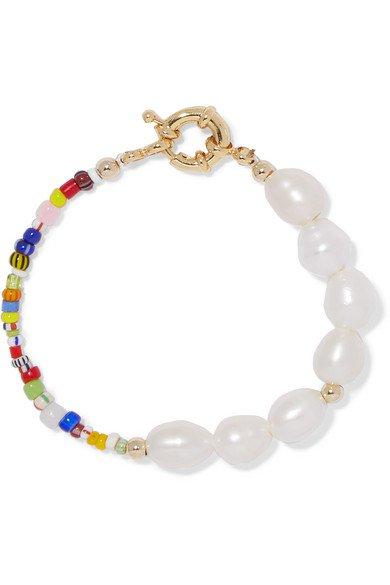 Eliou | Thao gold-plated, pearl and bead bracelet | NET-A-PORTER.COM
