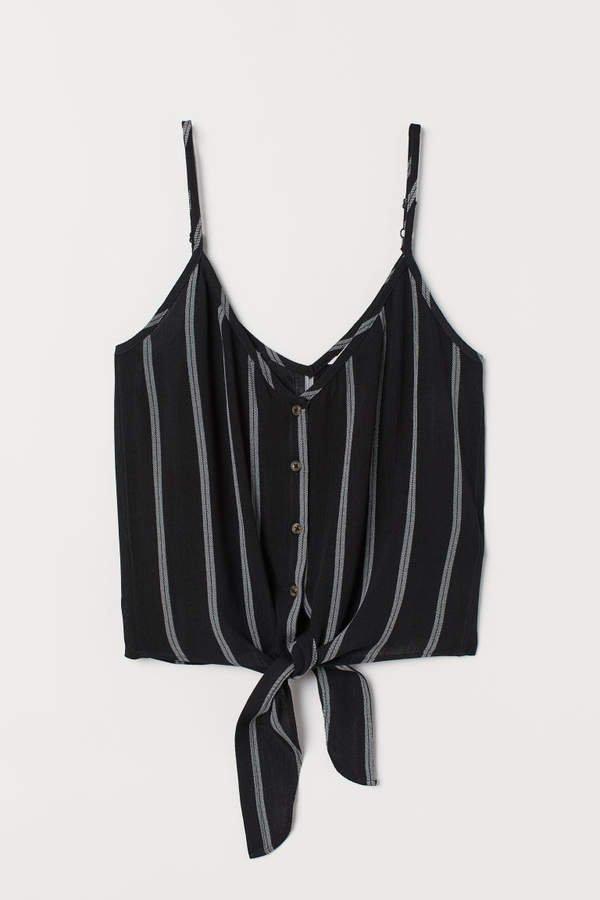 Tie-detail Camisole Top - Black