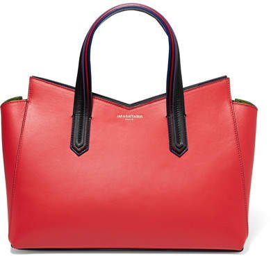 Cerniera Paneled Leather Tote - Red