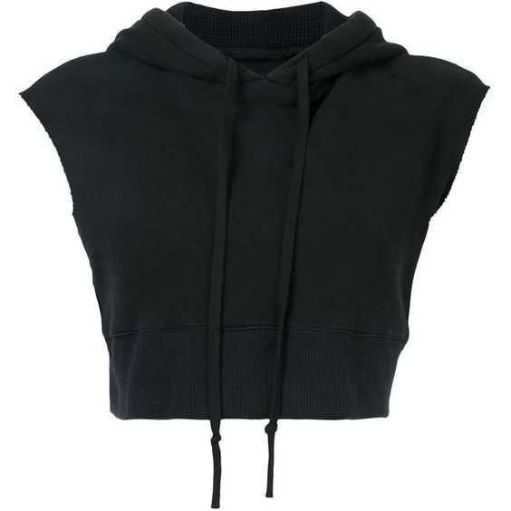 Black Crop-Top Sleeveless Hoodie