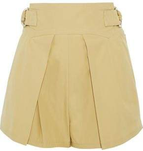 Belted Pleated Cotton Shorts