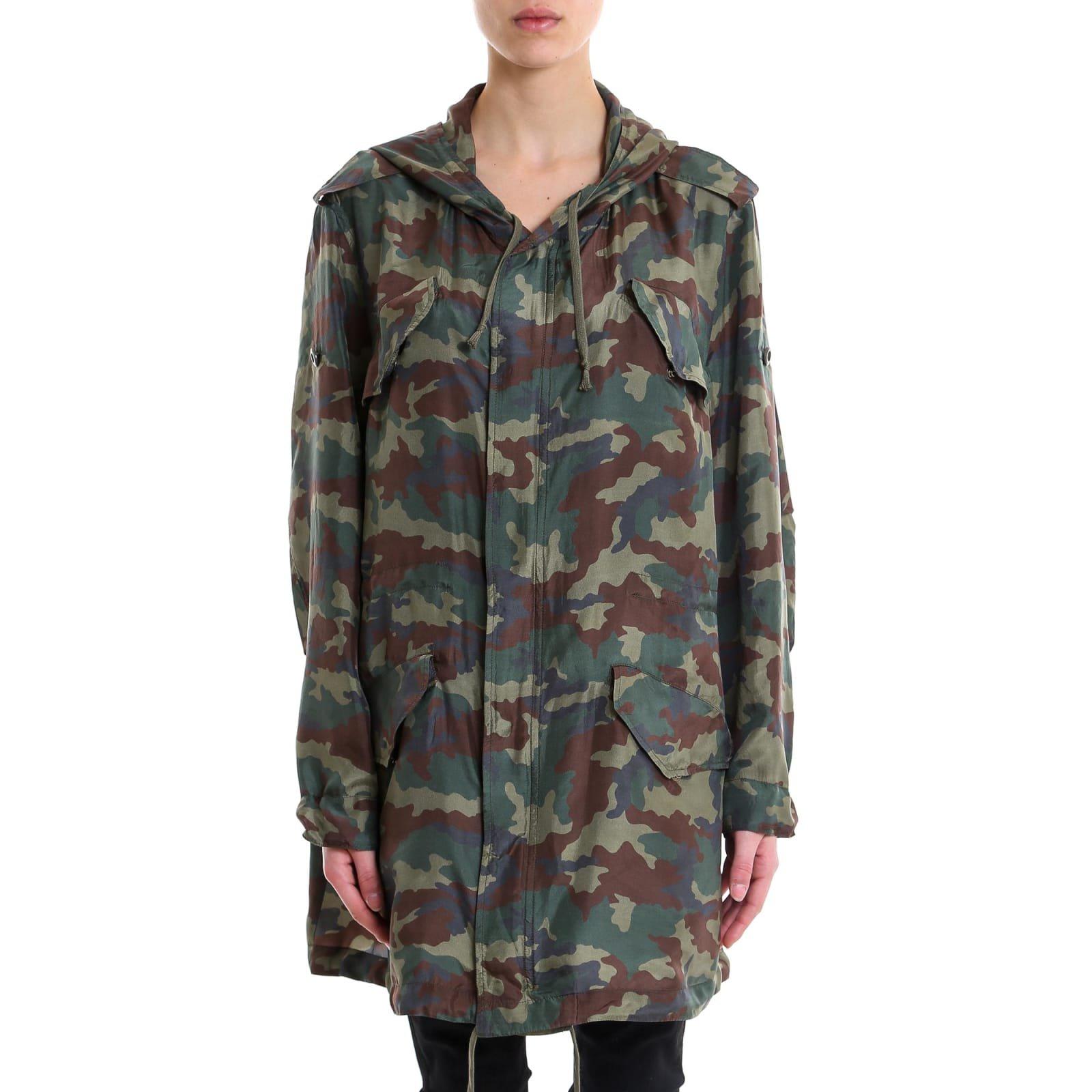 Faith Connexion Camo Silk Parka Dress Jacket