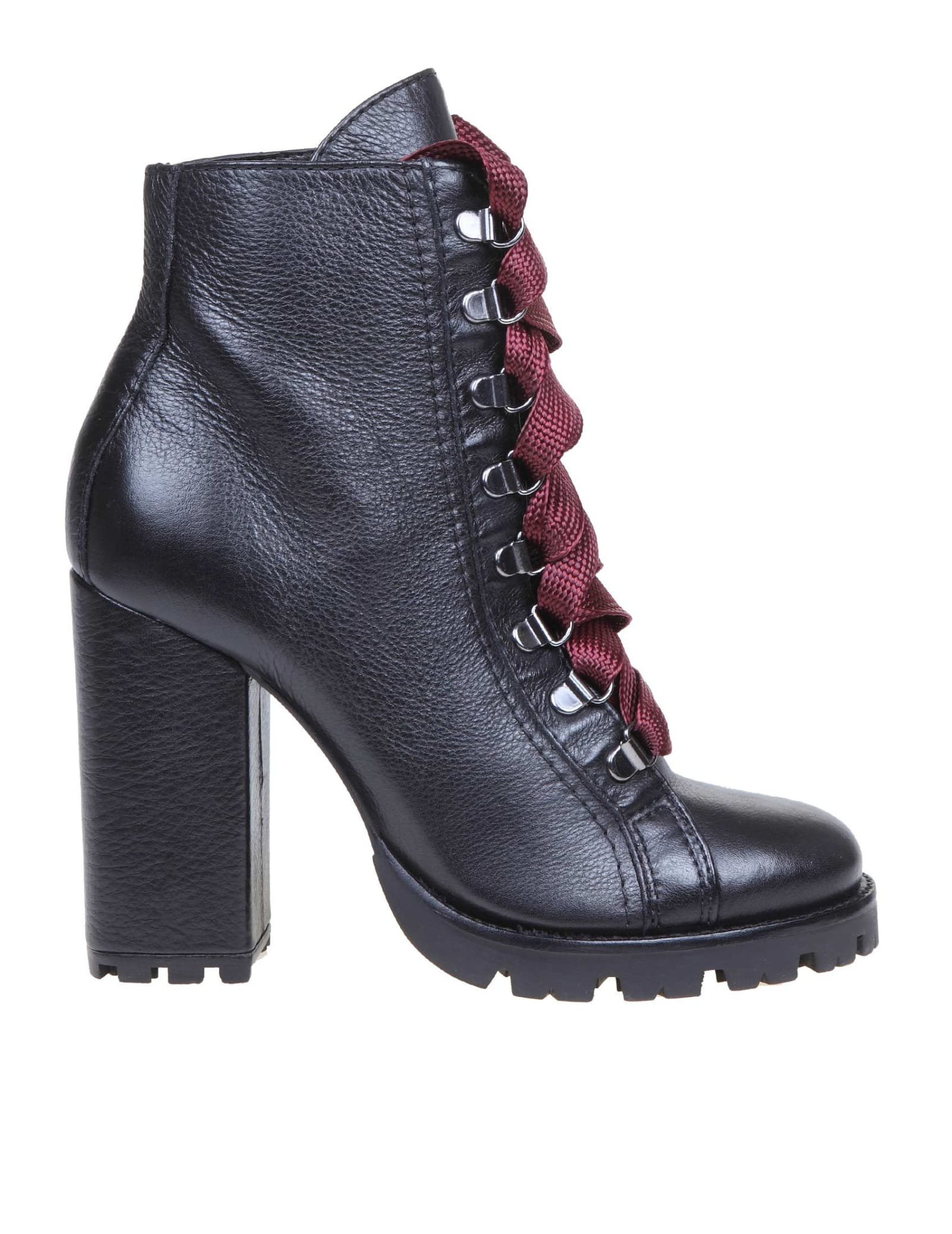 Schutz Black Leather Ankle Boot