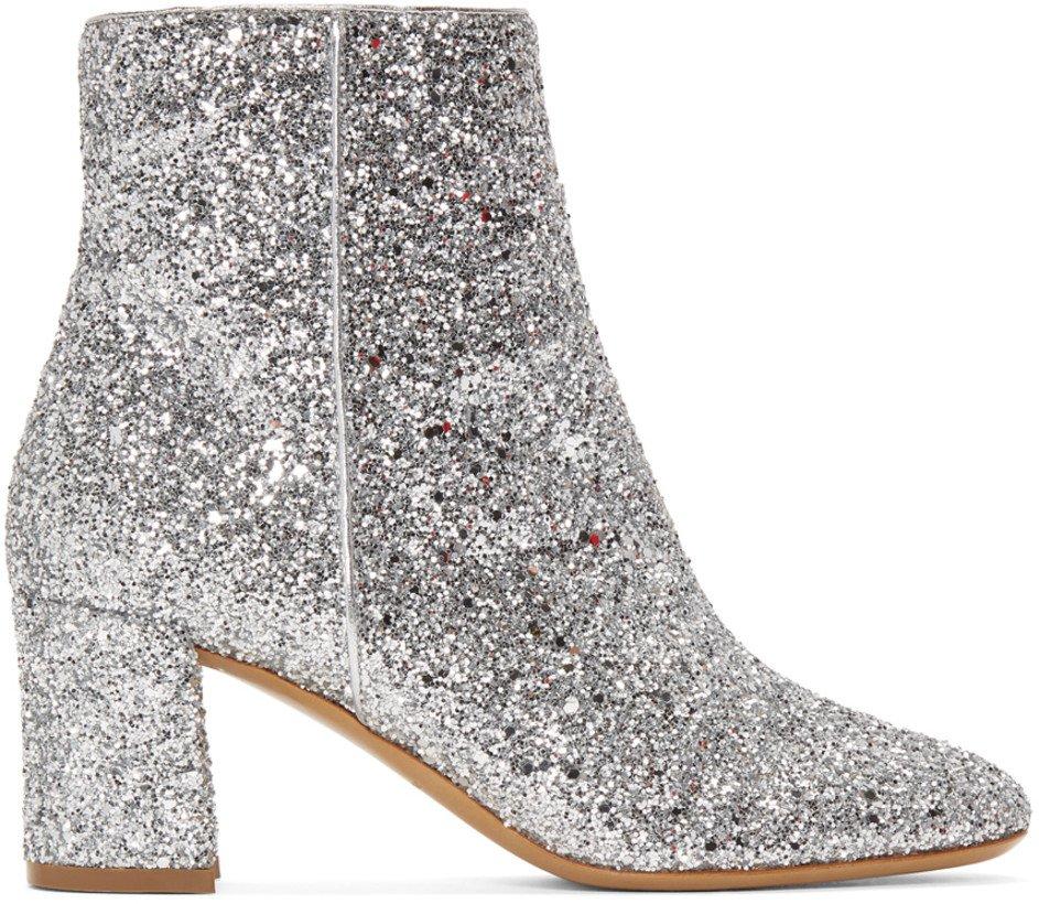 Mansur Gavriel: Silver Glitter Boots   SSENSE
