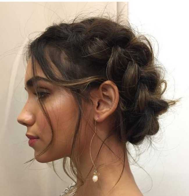 short hair milkmaid braids