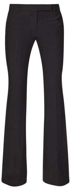 High Rise Flared Crepe Trousers - Womens - Black