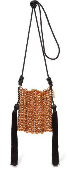 Luisella Tassled Gold-tone, Cord And Resin Shoulder Bag - Brown