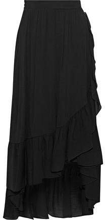 Asymmetric Ruffled Gauze Midi Skirt