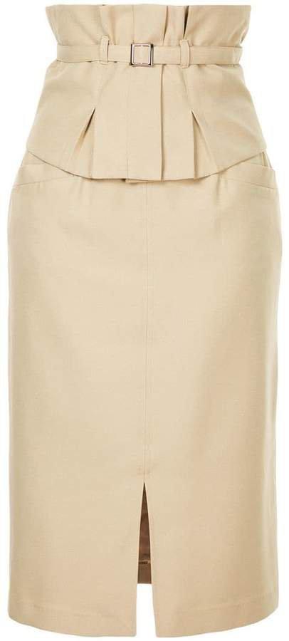 Loveless belted midi pencil skirt