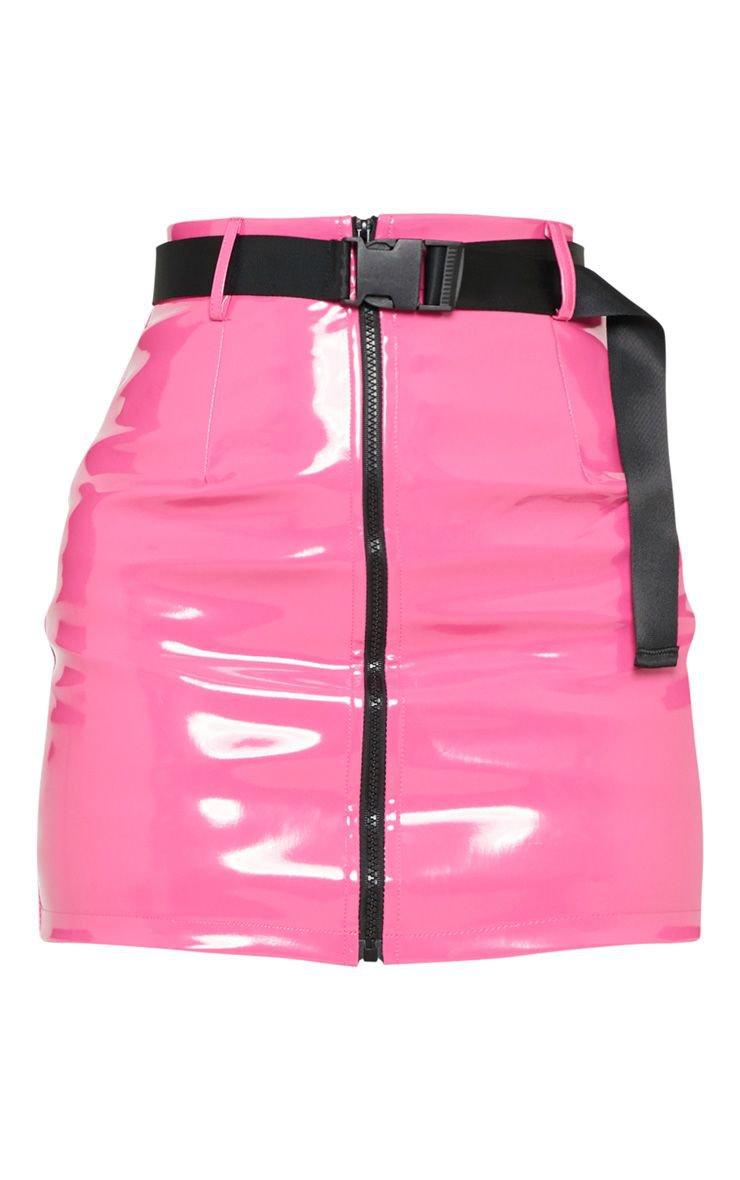 Orange Vinyl Zip Front Belted Mini Skirt | PrettyLittleThing USA