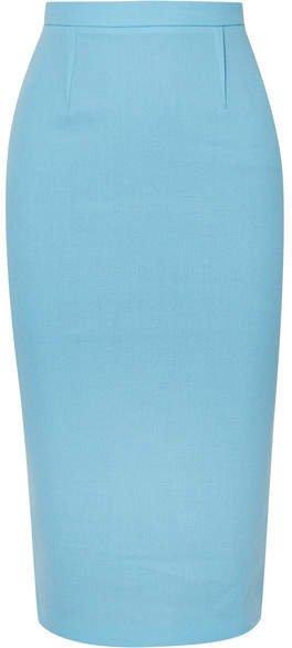 Arreton Wool-crepe Pencil Skirt - Light blue