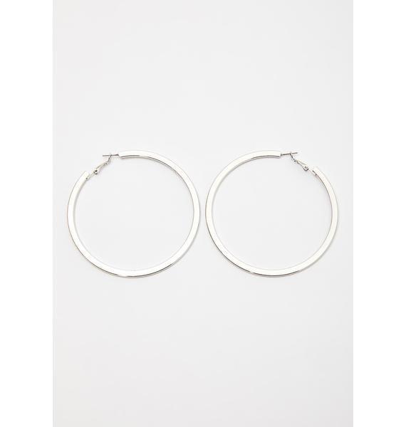 Silver Flat Large Hoop Earrings | Dolls Kill