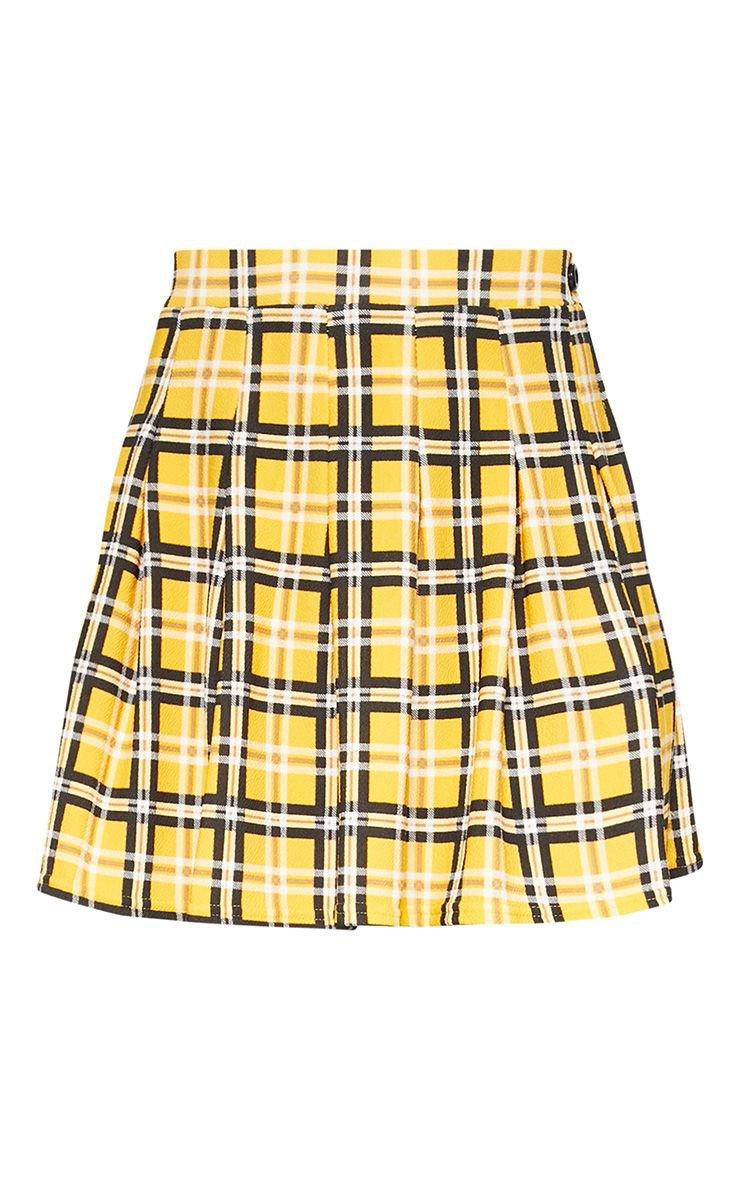 Yellow Check Tennis Side Split Skirt | Skirts | PrettyLittleThing