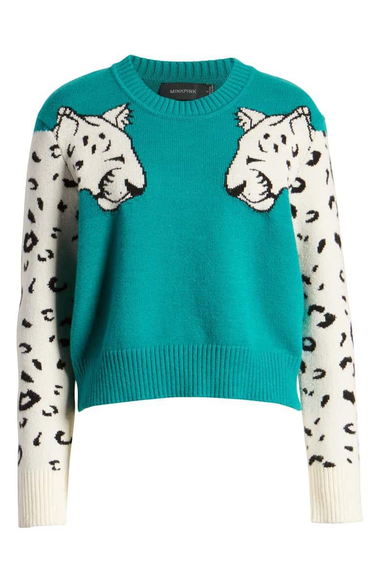 MINKPINK Snow Leopard Intarsia Sweater   Nordstrom