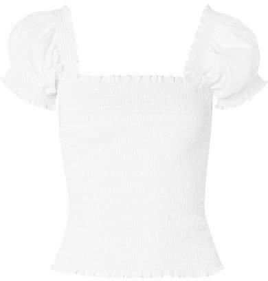 Arielle Shirred Cotton-blend Top - White