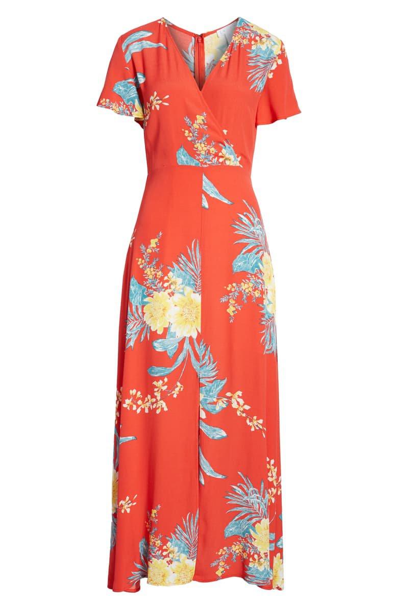 Leith Surplice Maxi Dress   Nordstrom