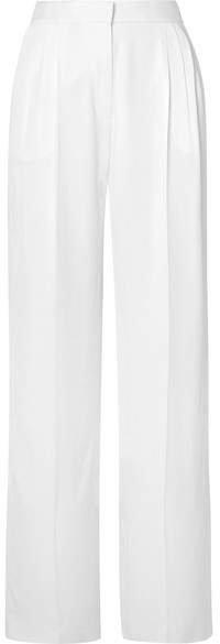 Pleated Crepe Wide-leg Pants - White