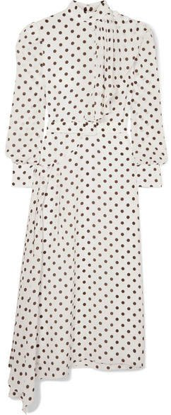 Asymmetric Polka-dot Silk Crepe De Chine Dress - White