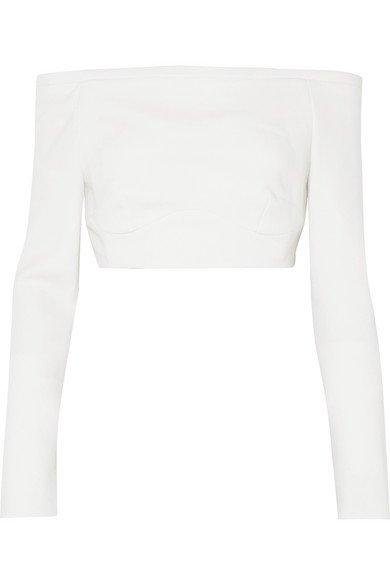Emilia Wickstead   Gerda off-the-shoulder wool-crepe top   NET-A-PORTER.COM