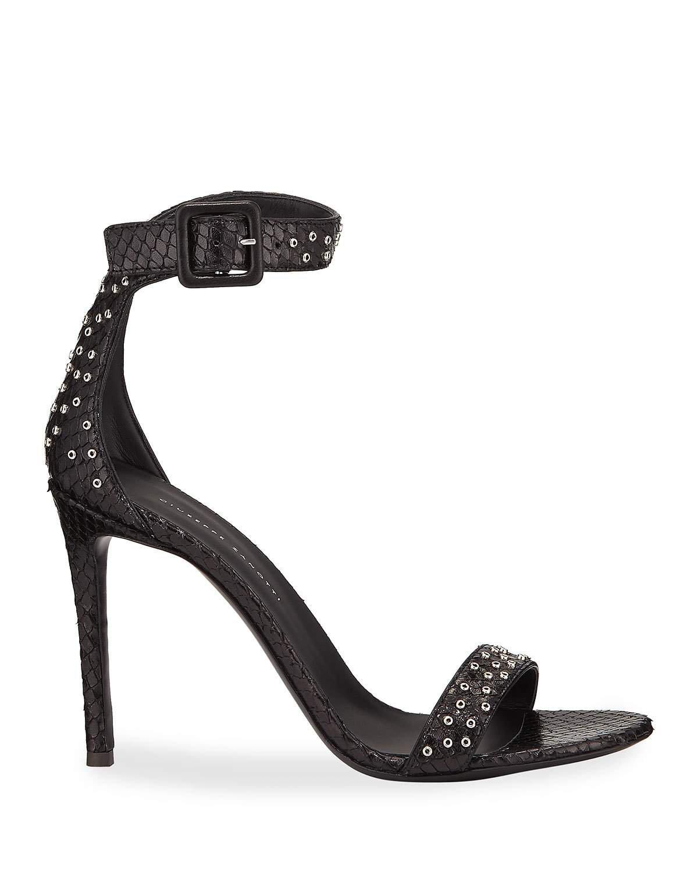 Giuseppe Zanotti Studded Snake-Print Ankle-Strap Sandals