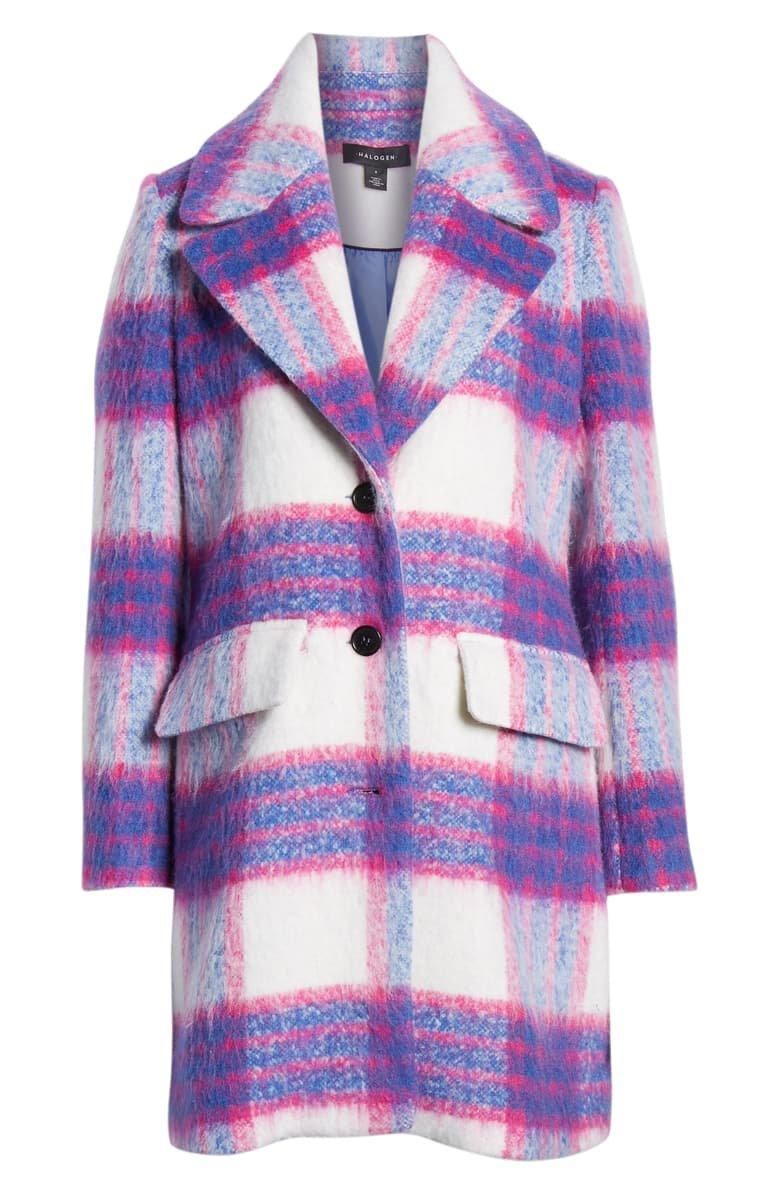 Halogen® Bold Plaid Coat pink blue