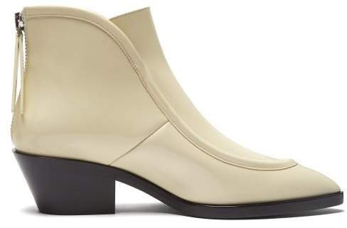 Pointed Toe Western Leather Ankle Boots - Womens - White