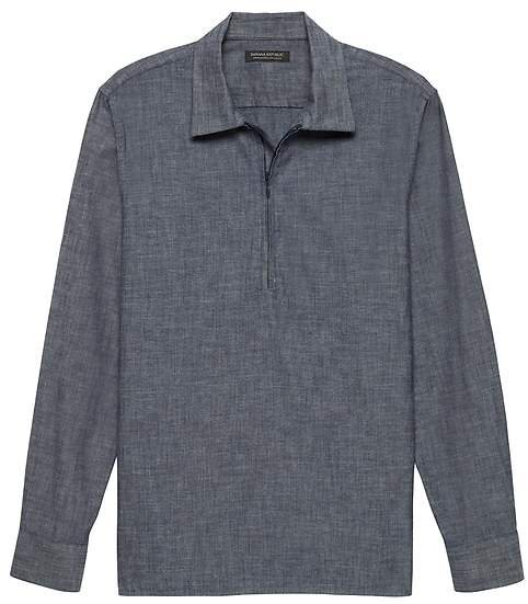 JAPAN EXCLUSIVE Oversized Chambray Half-Zip Shirt