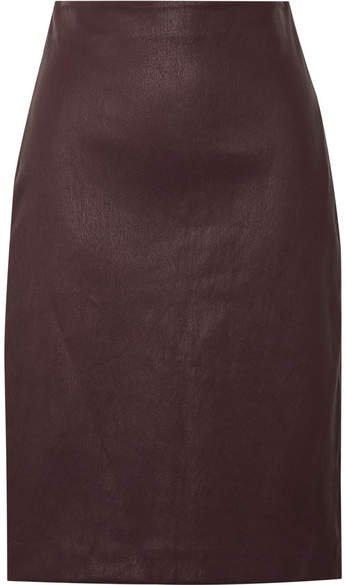 Leather Pencil Skirt - Burgundy