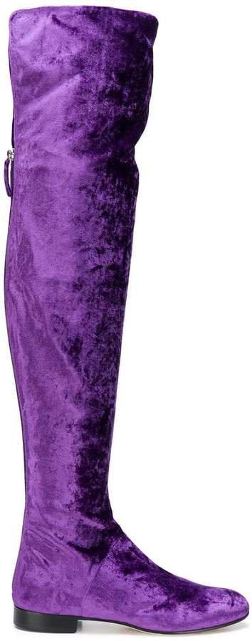 thigh-length velvet boots