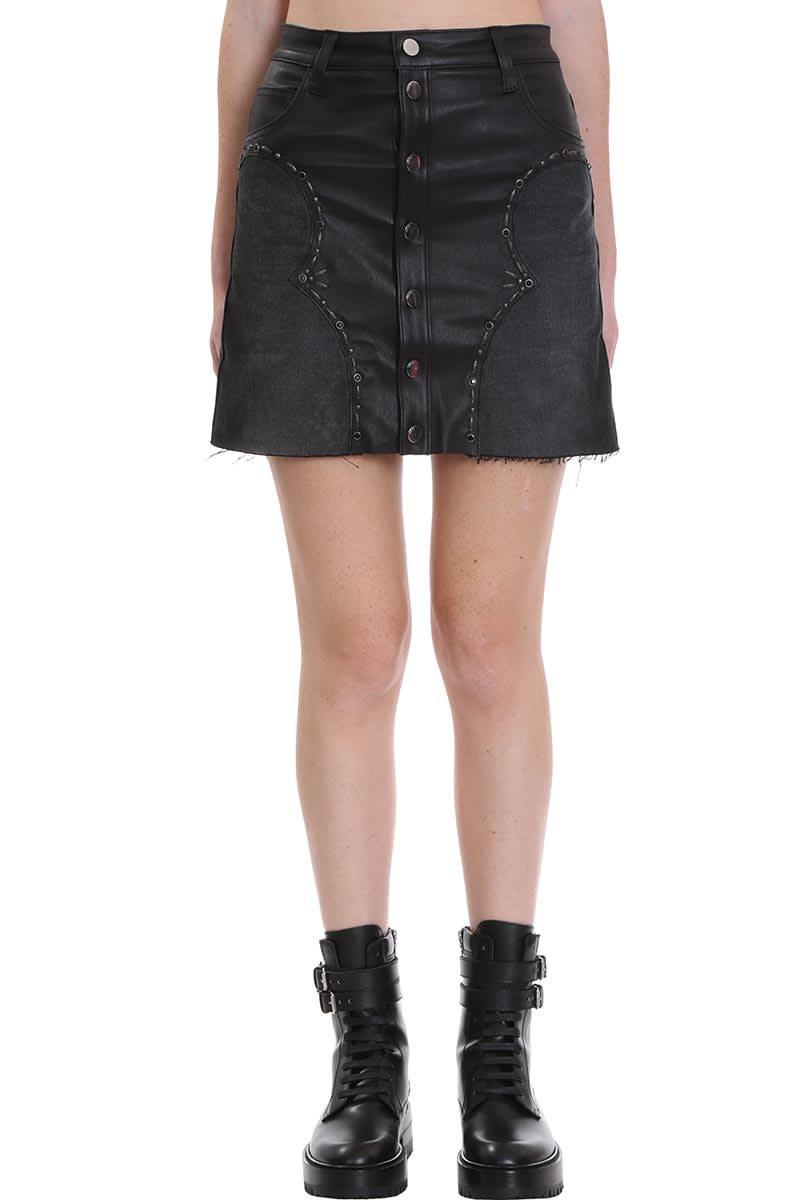 AMIRI Western Mini Skirt In Black Denim