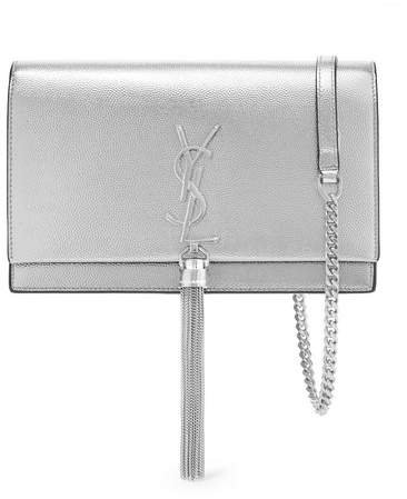 Kate Small Textured-leather Shoulder Bag - Silver