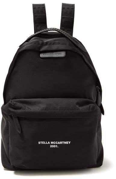 Go Logo Print Canvas Backpack - Womens - Black