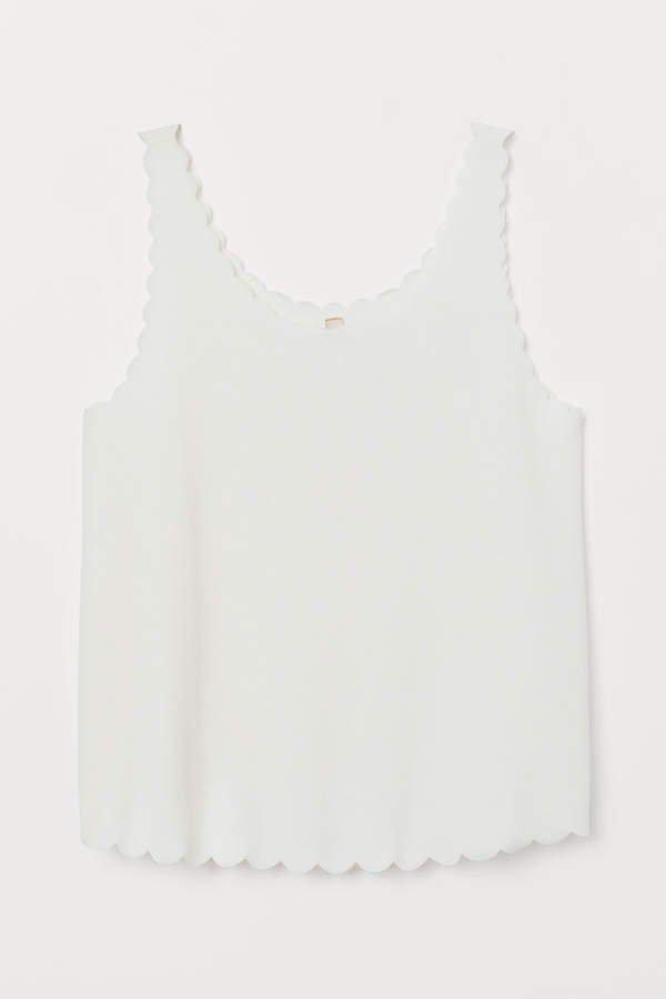 Scallop-edged Tank Top - White